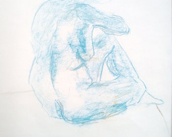 Original woman nude drawing, nude in the Studio, sketch of pastel chalk, naked woman, body drawing