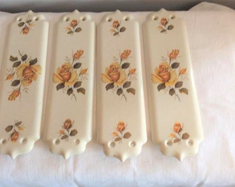 Door plates, Yellow rose, Decorative plates, door plaque, architectural plates, vintage home, Cottage home, Architectural salvage
