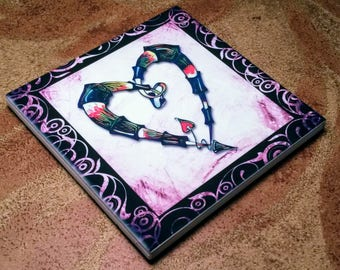 Heart in a Heart Tile Coaster / Wall Decoration-Pink/Purple