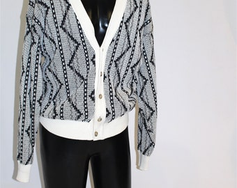 SALE* Vintage Clothing • 80's Yamato Cardigan • Funky Black and White Pattern • Made in Japan