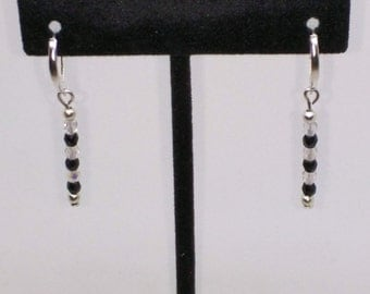Black and crystal bead dangle earrings set on lever backs.  1 3/4 inches long. FREE SHIPPING