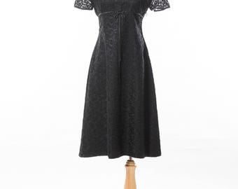 NOS: 1960s Black Embroidered Organza Lace Empire Baby Doll Dress