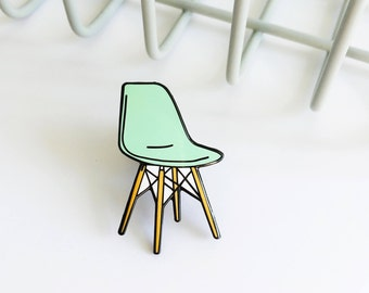 Eames Chair Enamel Pin | Mid Century Modern  | Lapel Pin | Cute Hat Pin | Charles & Ray Eames| Furniture Design| Chair Pin| Eiffel Chair|DSW