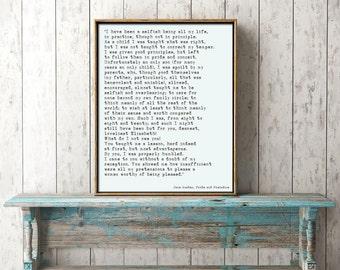 Bedroom Decor, Jane Austen Quote Art, Pride and Prejudice Print, Romantic Book Quote Print, Jane Austen Wall Art, Mr Darcy Quote