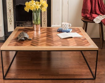 Herringbone Coffee Table With A Solid Wood Top