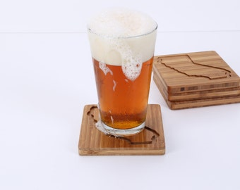 Bamboo Coasters, California, Gifts under 30, Bar ware
