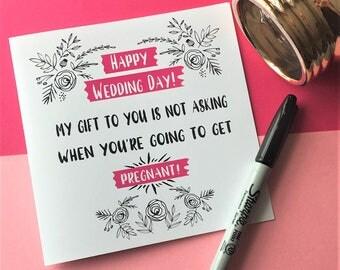 Funny Wedding Card, Wedding Card, Pregnant Wedding Card, Pregnant Card, On Your Wedding Day Card, Pregnancy Card, Pregnancy Wedding Card