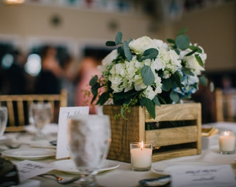 Rustic wooden crate, wedding centerpiece - wood from reclaimed skids