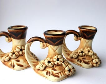 Free shipping Candlestick set Candle holders Brown Ceramic Wedding Candlestick holders Rustic decor For her Pottery Stoneware Decoration