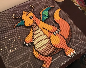 Pokémon Dragonite perler bead art