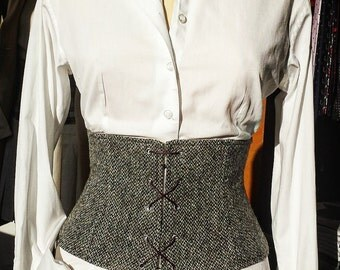 Handmade Woollen Corset Bustier with Laces and Zip in the Back