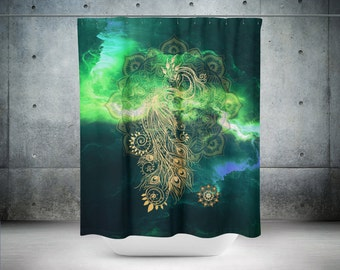 Peacock Shower Curtain, Mandala Shower Curtain, Bathroom Decor, Boho Chic, Bohemian Shower Curtain, Green Shower Curtain, Shower Curtains