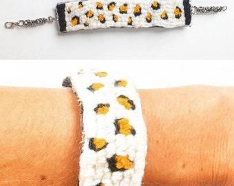 Hand-Stitched Leopard Print Wool Bracelet