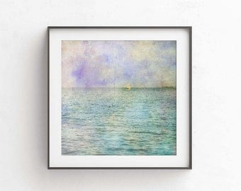 Sailboats art - PRINTBLES art -Watercolour print - Beach art, 10x10 print, square prints,  like watercolor, Pastel, wall art, photography