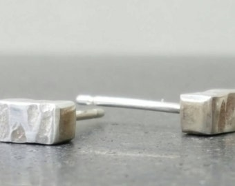 Silver Square Bar Studs  -  Simple Small Textured Sterling Silver Suds  -  Minimalist Silver Earrings Handmade In UK
