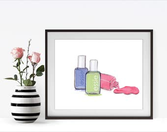 Essie Nail Polish, Blue Pink Green, Nail Polish, Watercolor Illustration