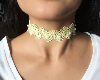 Yellow Lace Choker with White Pearls, Yellow Flower Ribbon Choker/ Neck Accessories, Handmade Yellow Floral Bohemian Choker
