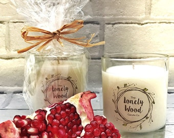 220g Soy Blend   Candle Black Pomegranate Scent   Container Candle   Pomegranate Candle   Hand Crafted   Fruit Scented Candle   Gift Idea