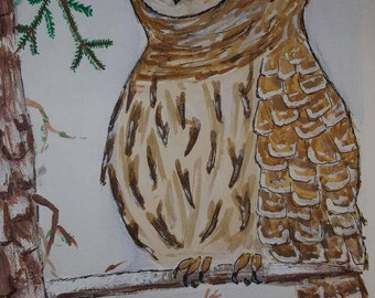 Sleepy winter owl