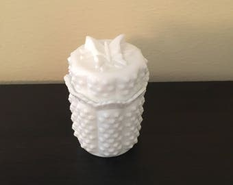 Fenton Hobnail Milk Glass Butterfly Dish