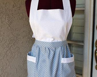 Blue White Vintage Style Apron, Bib Apron, Apron with Pockets, Full Body Apron, Adjustable Tie Apron