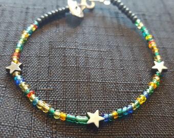 Rainbow Star Hematite Beaded Bracelet