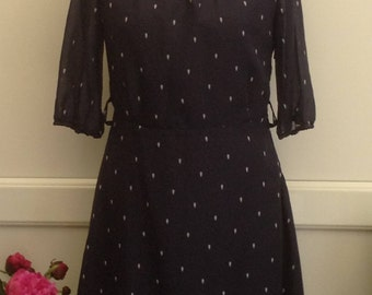 Retro Navy Summer Dress, Size 12
