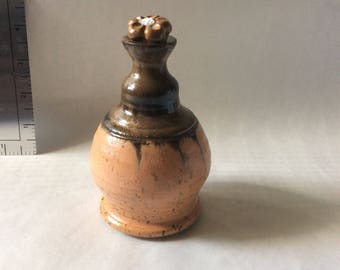 Ceramic Oil lamp (peachy-pink & brown on speckled clay)