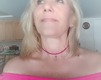 Hot Pink Suede Choker with Silver Cross