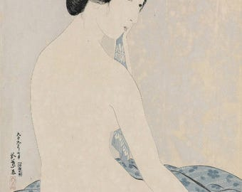 "Japanese Art Print ""Woman after a Bath"" by Hashiguchi Goyo, woodblock print reproduction, fine art, asian art, cultural art"