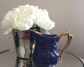 Antique Blue and Gold Ceramic Bell Creamer