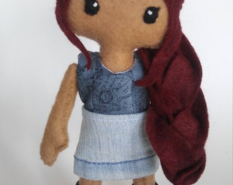 Red haired felt doll