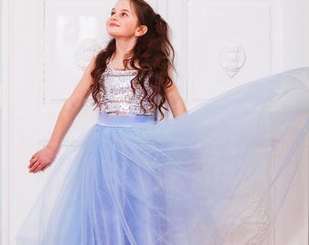 Blue Flower Girl tutu • Blue tutu • Long toddler tutu • Birthday •  Princess tutu skirt • Tulle Flower girl tutu • girls long tutu