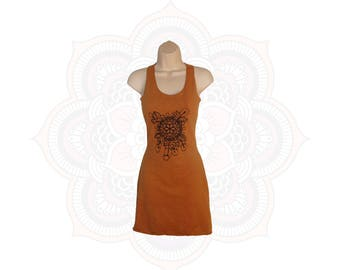 Organic Racer Back Mini Dress with Feather Mandala print- Handmade and dyed Organic cotton/Hemp jersey You choose from 15 different colors