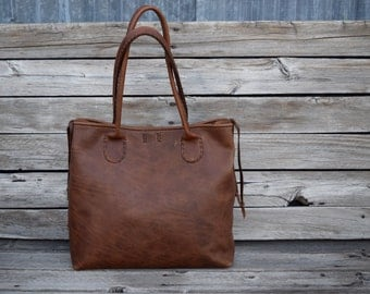 Large Russet Brown Leather Tote Bag / Hand stitched leather Bag / Laptop Tote / Everyday Leather Tote / Feral Empire