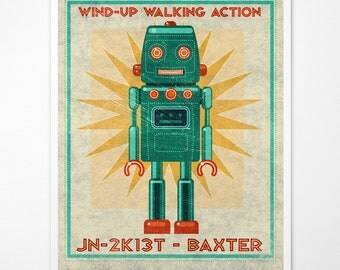 "Retro Robot Art Print- Baxter Box Art Robot Decor 8"" x 10"" Science Fiction Art for Kids Rooms or Robot Nursery Decor- Kid Bedroom"
