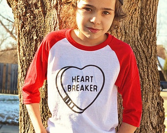 Heartbreaker Kids VALENTINES DAY Red and White Raglan style TShirt /Cute Valentines Day Tee / Heart Candy / Youth Sizes / Heart Break Kid