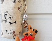 Cozy pouch brown wool needle felted dog puppy key ring bagcharm birdie bird RESERVED