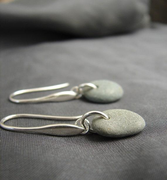 Strength beach pebble earrings