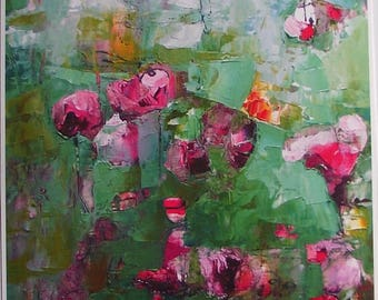 Fine art print from abstract floral painting,  cool fresh green and magenta, pink, A6 to A3 size