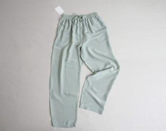 mint green silk trousers | silk pants | drawstring pants