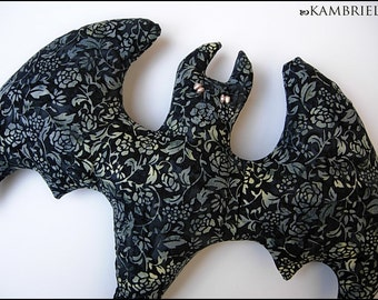 Midnight Garden Gothic Art Nouveau Bat Pillow Doll with Pearl Eyes - Brand New by Kambriel