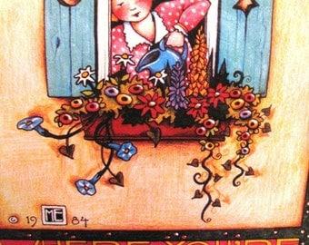 1990 Vintage Mary Engelbreit Iron On Transfer, Bloom Where You're Planted Transfer, 6504, Spring Time Flowers, Flower Garden, Flower Pot, Da