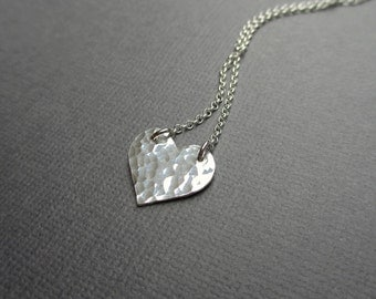 Heart Charm Necklace Silver Hammered Heart Pendant Necklace PMC Artisan Jewelry Fine Silver Romantic Gift for Valentine Under 45