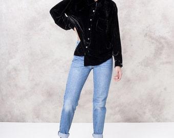 VELVET blouse OVERSIZE long sleeve BLACK vintage Collared shirt women loose flowy vintage / Medium / better Stay together