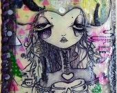 Original Mixed Media. Strange Girl, Bees Wax, Lace, Unframed
