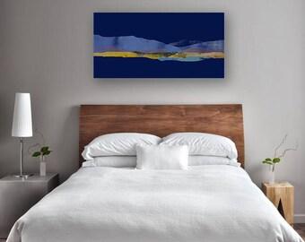 Minimalist Abstract Mountain Landscape, Canvas Print, Minimalistic, Modern Landscape Mountain Art, Peaceful Landscape Print, Blue Wall Art
