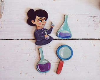 The scientist kit: SET of 4 brooch, handpainted wooden pins