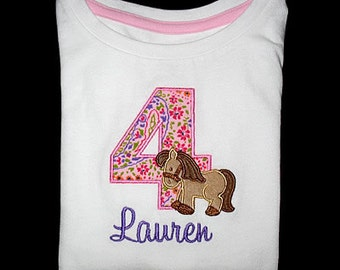 Custom Personalized Applique Birthday Number HORSE and NAME Shirt or Bodysuit - Lt Pink, Purple, and Brown