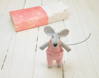 Pink white stuffed mouse stuffed animals felted animal mouse in starry matchbox felt dolls miniature mouse kids birthday gift hand made doll